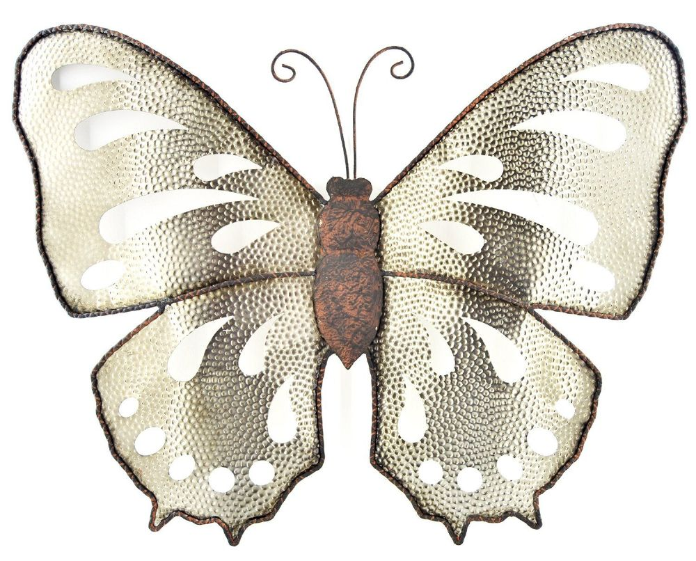 Rustic Shimmery Metal Butterfly Wall Art